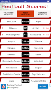 screenshot of Live Football Scores version 1.9.5