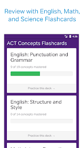 screenshot of ACT Test Prep, Practice, and Flashcards version 2.8.0