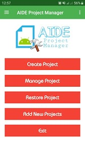 screenshot of AIDE Project Manager version 1.4