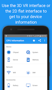 screenshot of CPU Information : View your Device Info in 3D VR version 4.1.9
