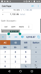 screenshot of CalcTape Calculator with Tape version Varies with device