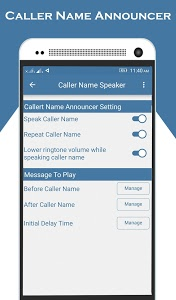 screenshot of Caller Name Announcer version 1.1