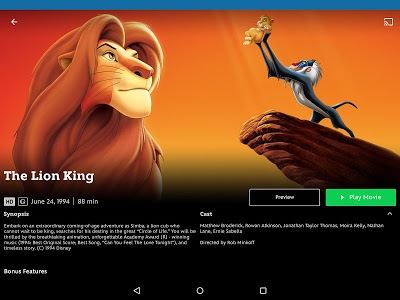 screenshot of Disney Movies Anywhere version 1.8.5