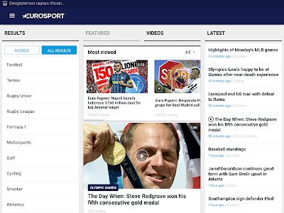 screenshot of Eurosport version Varies with device