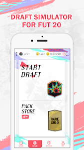 screenshot of FUT 20 Draft Simulator & Pack Opener version 1.0.8