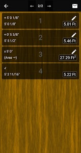 screenshot of Feet & Inches Construction Calculator version 6.02