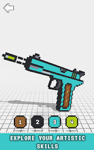 screenshot of Guns 3D Color by Number - Weapons Voxel Coloring version 3.0