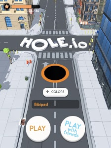 screenshot of Hole.io version 1.2.0