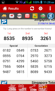 screenshot of Live 4D Results ! (MY & SG) version 7.5