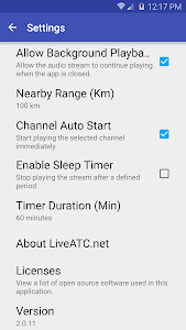 screenshot of LiveATC for Android version 2.0.21