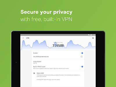 screenshot of Opera with free VPN version Varies with device