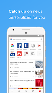 screenshot of Opera browser - news & search version 46.1.2246.127339