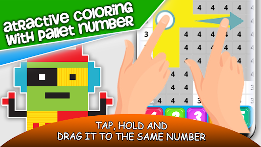 screenshot of Pixel Art Robots Color By Number : Color To Relax version 5.0