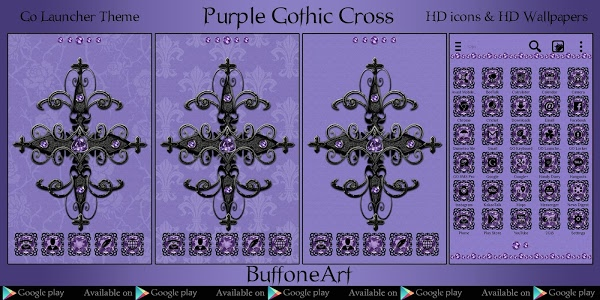 screenshot of Purple Gothic Cross Go Locker theme version 2