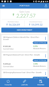 screenshot of SBI Mutual Fund - InvesTap version 6.8