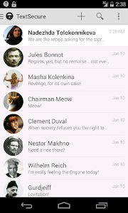 screenshot of TextSecure Private Messenger version 2.1.8