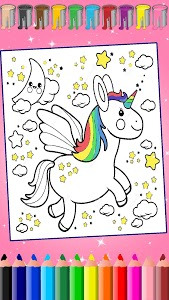 screenshot of Unicorn Coloring, Coloring Pages for Girls. version 1.0