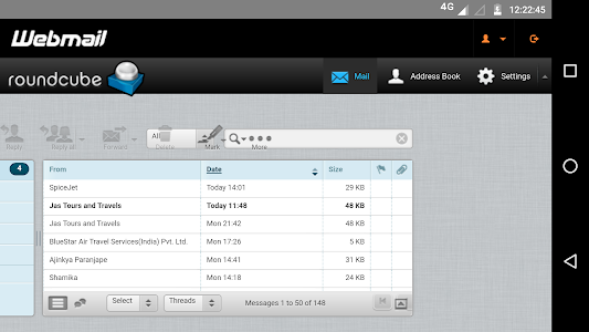 screenshot of Webmail - webview mobile app version 1.3