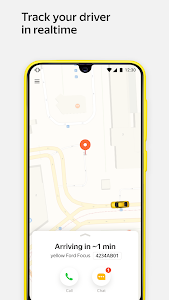 screenshot of Yandex.Taxi Ride-Hailing Service. Book a car. version Varies with device