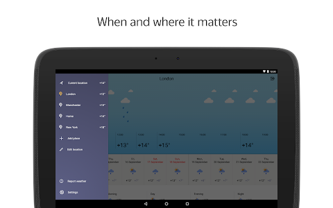 screenshot of Yandex.Weather version 6.1.6